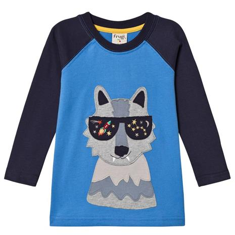 Blue and Navy Sunglasses Wolf LS Tee2-3 years