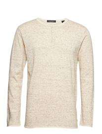 Scotch & Soda Grandad Pullover With Contrast Inside Colour SAND MELANGE