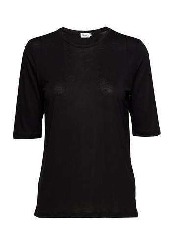 Filippa K Tencel Elbow Sleeve Top BLACK