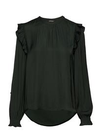 Scotch & Soda Top With Ruffles And Smock Detail FOREST GREEN