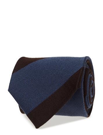 Eton Brown & Blue Striped Wool & Silk Tie OFFWHITE/BROWN