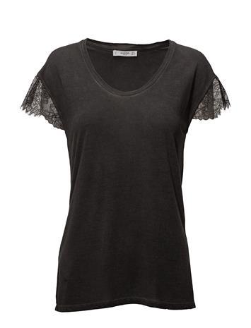 Mango Lace Panel T-Shirt CHARCOAL