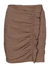 Mango Ruffled Checked Skirt BROWN