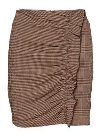 Mango Ruffled Checked Skirt BROWN