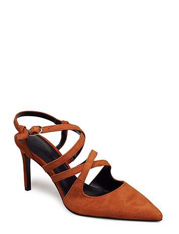 Mango Strap Leather Shoes DARK ORANGE