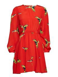 Diane von Furstenberg Cinched Waist Draped Mini Drs AURORA CANDY RED