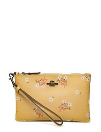 Coach Floral Bow Small Wristlet DK/SUNFLOWER FLORAL BOW