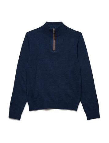 Mango Kids Zipped Elbow Patches Sweater NAVY