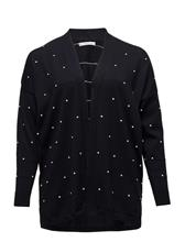 Violeta by Mango Embossed Polka-Dot Cardigan NAVY
