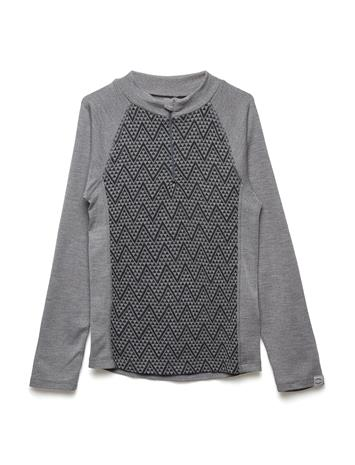 Mikk-Line Wool Jacquard Pullover W/Zip PEARL GREY MELANGE