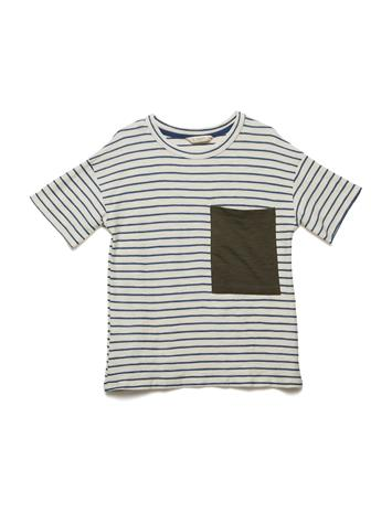 Mango Kids Chest-Pocket Striped T-Shirt LIGHT BEIGE