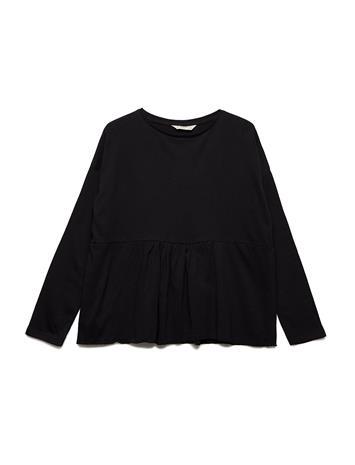 Mango Kids Ruffle Cotton T-Shirt BLACK