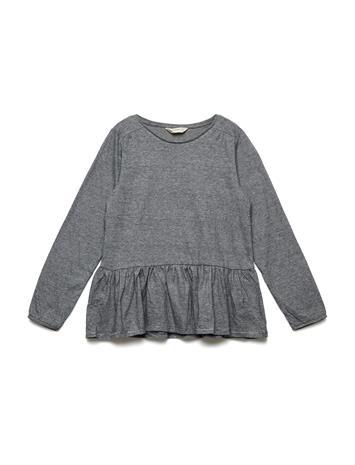 Mango Kids Ruffle Cotton T-Shirt CHARCOAL