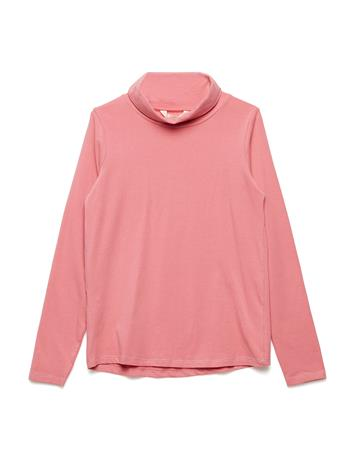 Mango Kids Turtleneck Cotton T-Shirt PINK