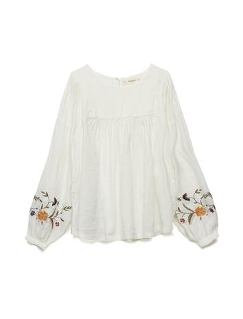 Mango Kids Floral Embroidered Blouse NATURAL WHITE