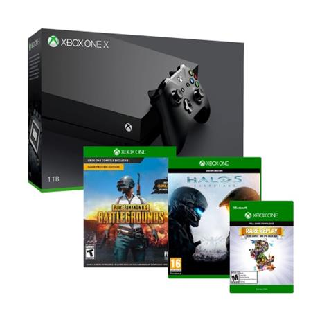 Xbox One X, pelikonsoli + 3 peliä