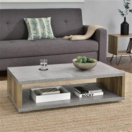 [en.casa]® Moderni sohvapöytä - MDF-levy - metallirunko - betoni/puu-vaikutus - 110 x 60 x 30 cm