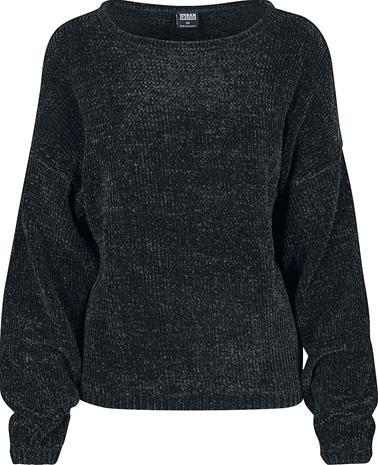 Urban Classics Ladies Oversize Chenille Sweater Naisten svetari musta