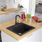 vidaXL Graniitti keittiön pesuallas musta