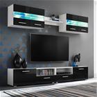 vidaXL TV-kalustekokonaisuus LED-valot 5 osaa korkeakiilto musta