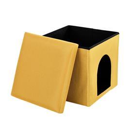 [en.casa]® Kokoontaitettava jakkara säilytystilalla / piilonurkalla - sinapinkeltainen