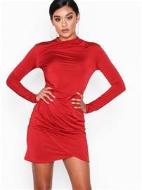NLY One Drape Neck Dress Punainen