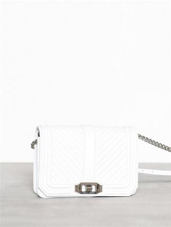Rebecca Minkoff Chevron Quilted Small Love Crossbody Valkoinen