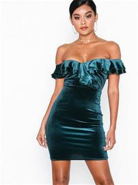 NLY One Frill Neck Velvet Dress Vihreä