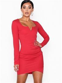 NLY One V Bar Ls Dress Punainen