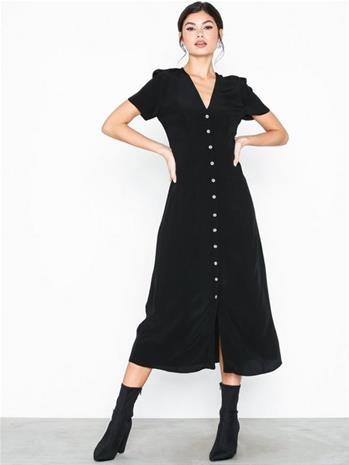 New Look Button Front Midi Tea Dress Black
