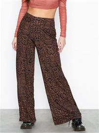 River Island Snake Flare Trousers Brown
