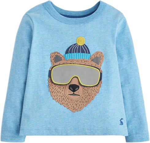 Tom Joule Applique Novelty T-Paita Marl Bear, Blue 3 vuotta