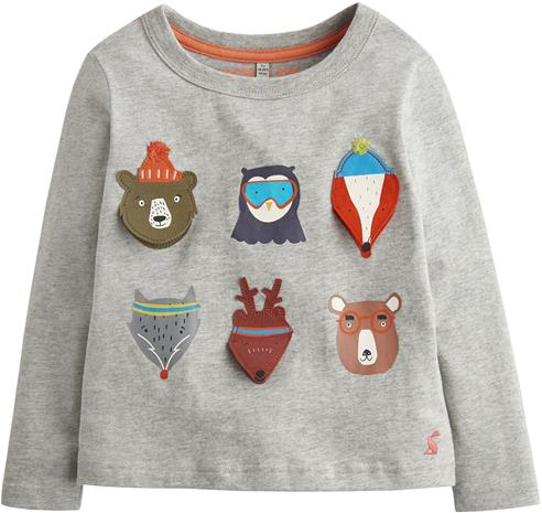 Tom Joule Applique Novelty T-Paita Marl Animals, Grey 3 vuotta
