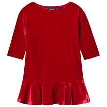 Red Drop Waist Velvet Dress4 years