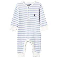 White and Blue Stripe Waffle Footless Babygrow0-3 months