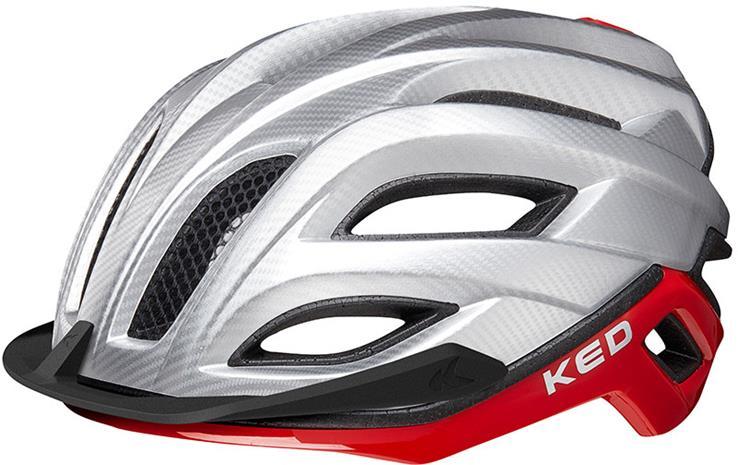 KED Champion Visor Pyöräilykypärä , punainen/hopea