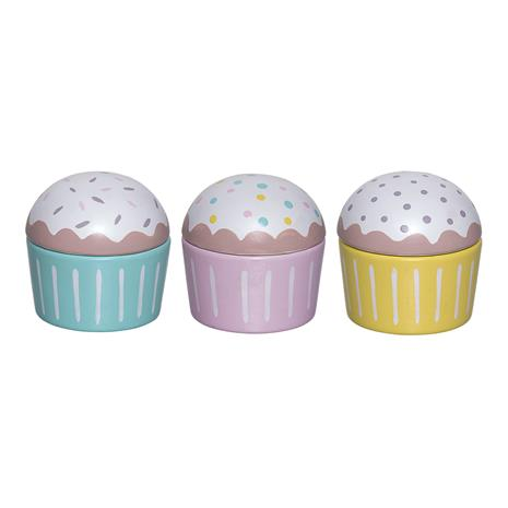 Puulelu Muffins 3 kappaletta 7x7 cm, Toys