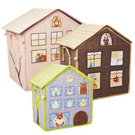 Rice - Large Set of 3 Toy Baskets - Wood House Theme