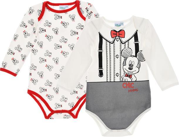 Disney Mikki Hiiri Bodyt 2-Pack, Offwhite/Red 12 kk