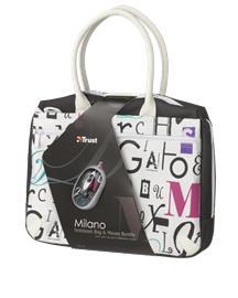 Trust Milano Bag & Mouse Bundle, langallinen hiiri ja notebook-laukku