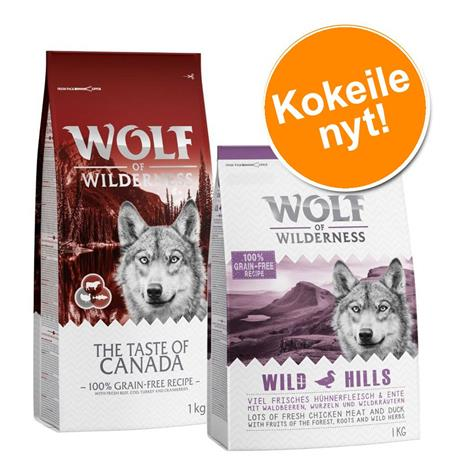 2 maun yhteispakkaus! 2 x 1 kg Wolf of Wilderness Adult -kuivaruokaa - The Taste Of Canada + High Valley - nauta (Soft & Strong)