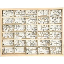 Wood Beads - Size 8x8 mm - Hole size 3 mm - White - Grass Wood - A-Z, &, #, ? - 750mixed (68982) (Maahantuoja)