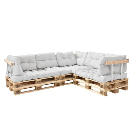 [en.casa]® Kuormalavakaluste - Sohva 6:lla kuormalavalla ja tyynyillä (3 x istuin + 8 x selkää) selkä- ja käsinojalla - valkoinen