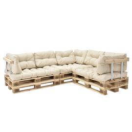 [en.casa]® Kuormalavakaluste - Sohva 6:lla kuormalavalla ja tyynyillä (3 x istuin + 8 x selkää) selkä- ja käsinojalla - beige