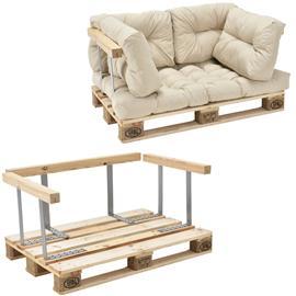 [en.casa]® Kuormalavakaluste - Sohva kuormalavalla ja tyynyillä (1 x istuin + 4 x selkää) selkä- ja käsinojalla - beige