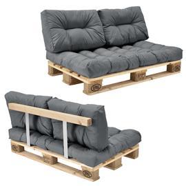[en.casa]® Kuormalavakaluste - Sohva kuormalavalla ja tyynyillä (1 x istuin + 2 x selkää) - vaaleanharmaa