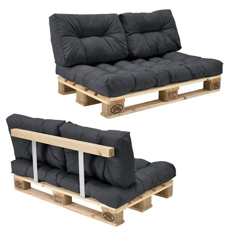 [en.casa]® Kuormalavakaluste - Sohva kuormalavalla ja tyynyillä (1 x istuin + 2 x selkää) - tummanharmaa