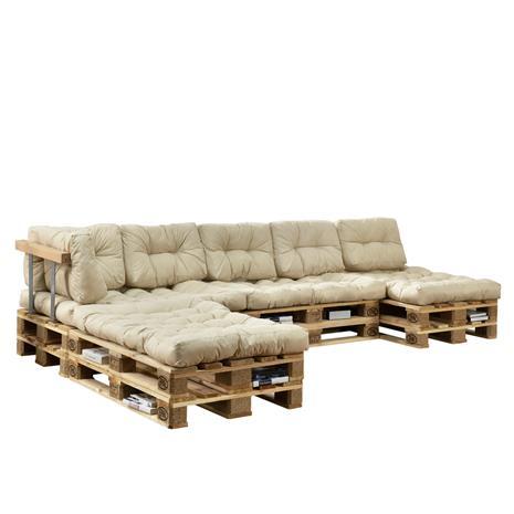 [en.casa]® Kuormalavakaluste tyyny-setti - vaahtomuovi päällinen (4 x istuin- 6 x selkätyyny) - beige