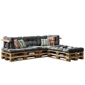 [en.casa]® Kuormalavakaluste tyyny-setti - vaahtomuovi päällinen (3 x istuin- 5 x selkätyyny) - vaalenharmaa