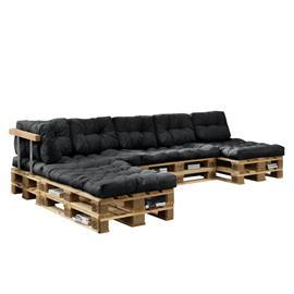 [en.casa]® Kuormalavakaluste tyyny-setti - vaahtomuovi päällinen (4 x istuin- 6 x selkätyyny) - tummanharmaa